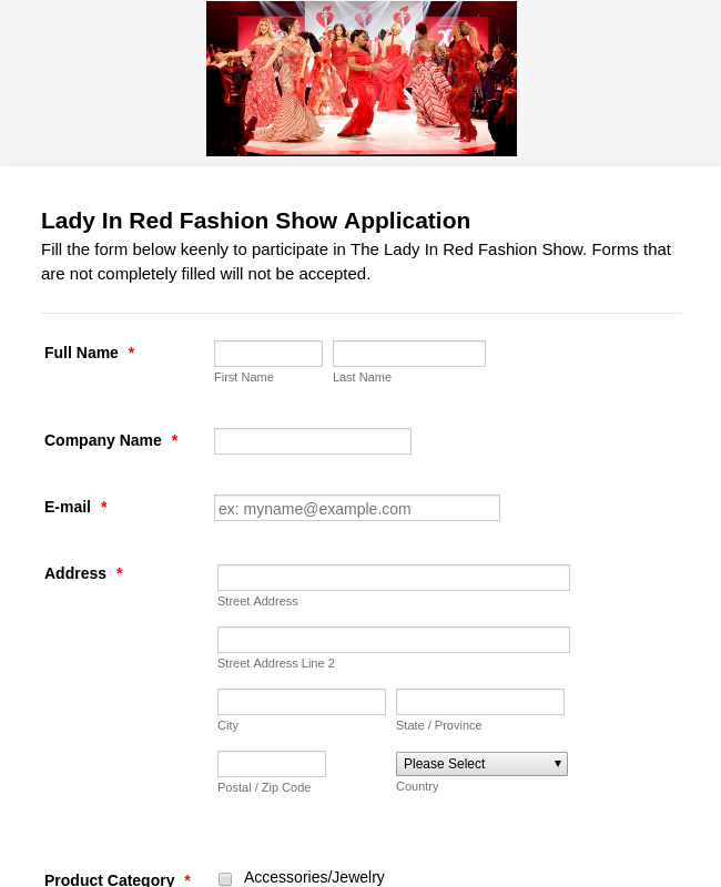Lady In Red Fashion Show Vendor Form