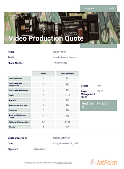 Video Production Quote