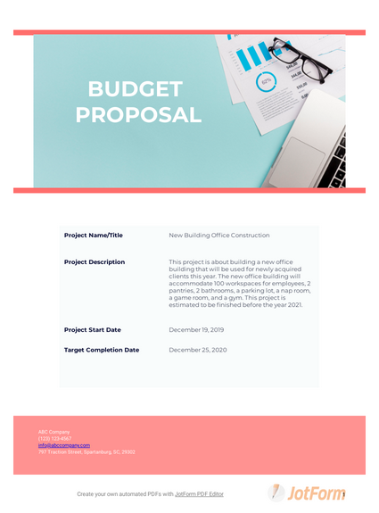 Budget Proposal Pdf Templates Jotform