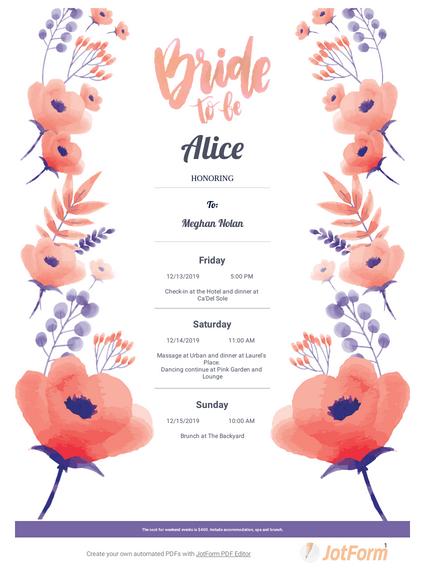Bachelorette Itinerary