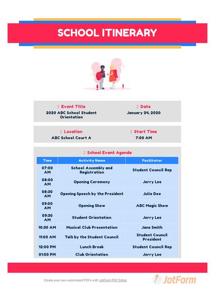 School Itinerary