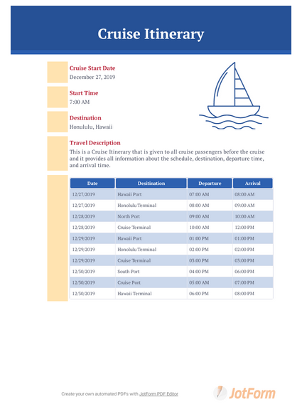 Itinerary Schedule Current: Cruise Itinerary Template - PDF Templates