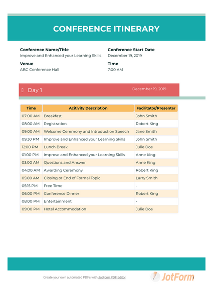Conference Itinerary Template Pdf Templates Jotform