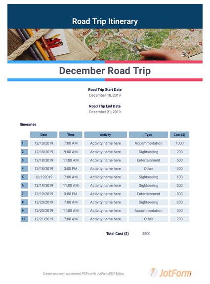 Road Trip Itinerary