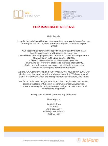 Press Release Email Template Pdf Templates Jotform