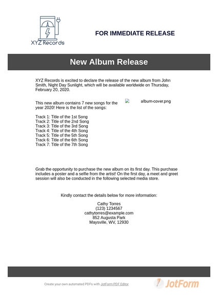Music Press Release Template