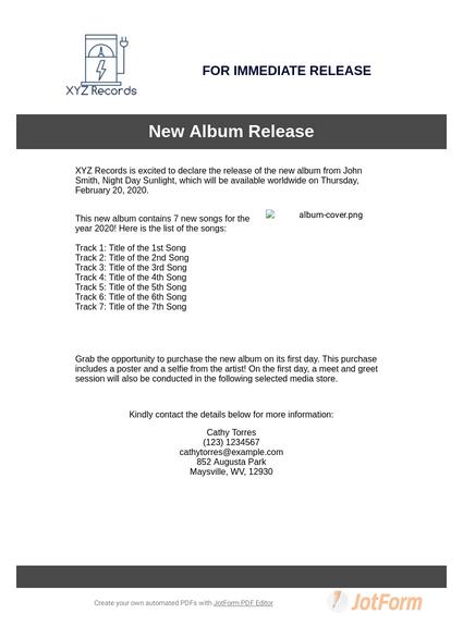 Music Press Release