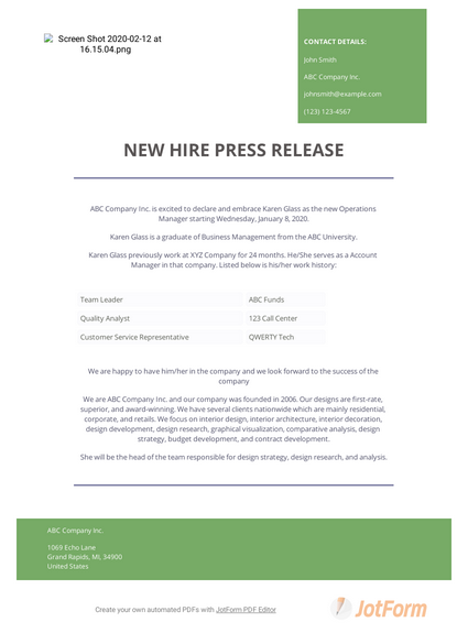 New Hire Press Release