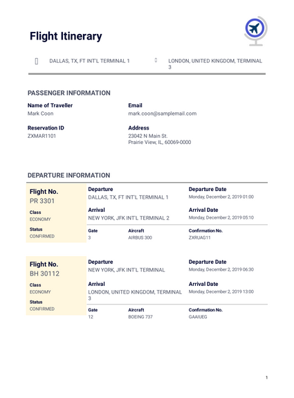 Business Travel Itinerary Template Pdf Templates Jotform