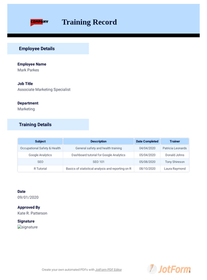 Training Record Template Pdf Templates Jotform