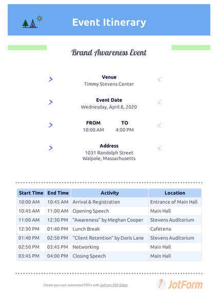 Event Itinerary Template Pdf Templates Jotform