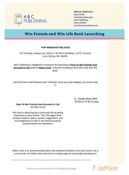 Book Press Release