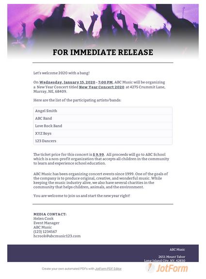 Concert Press Release