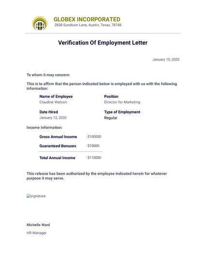 Verification Of Employment Letter