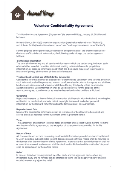 Volunteer Confidentiality Agreement