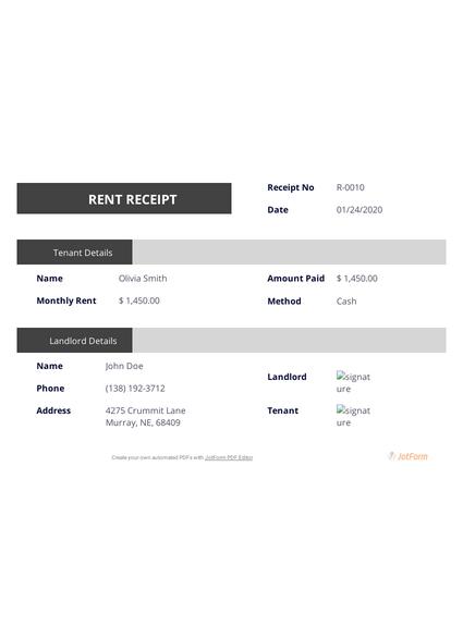 Landlord Rent Receipt