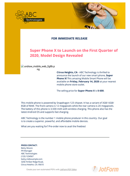 Product Launch Press Release Template
