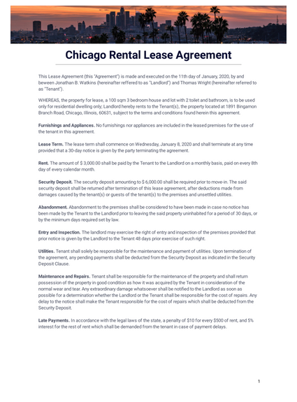 Chicago Rental Lease Agreement