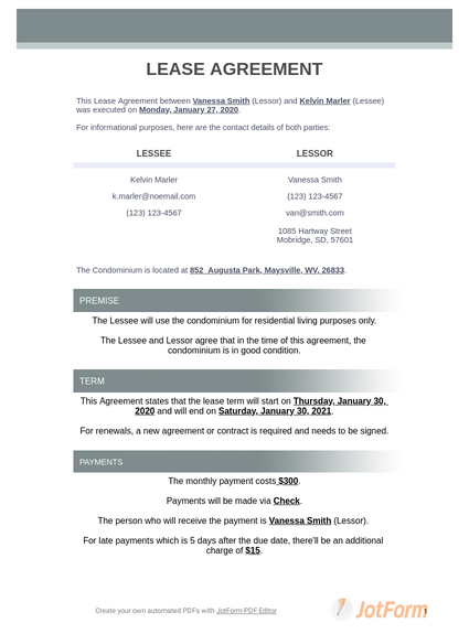 Condo Lease Agreement Pdf Templates Jotform