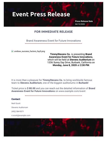 Event Press Release Template Pdf Templates Jotform