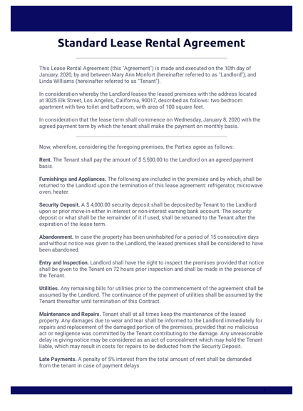 Standard Lease Rental Agreement