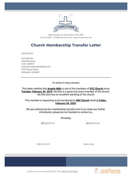 Church Membership Transfer Letter