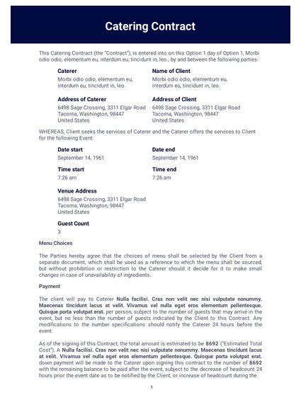 Catering Contract Pdf Templates Jotform