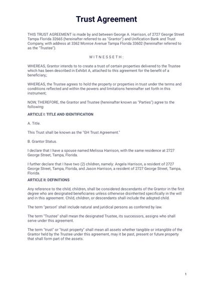 Trust Agreement Pdf Templates Jotform