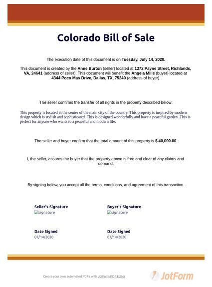 Colorado Bill of Sale