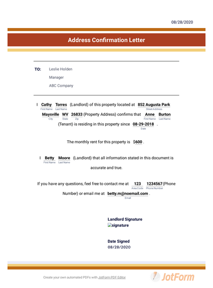 Address Confirmation Letter Pdf Templates Jotform