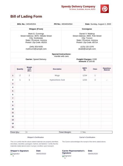 Bill Of Lading Form Pdf Templates Jotform