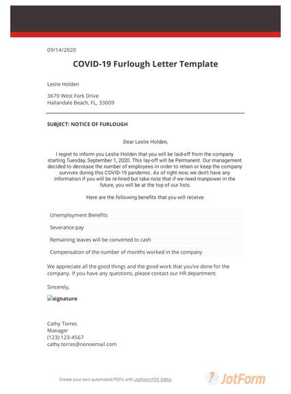 COVID-19 Furlough Letter Template