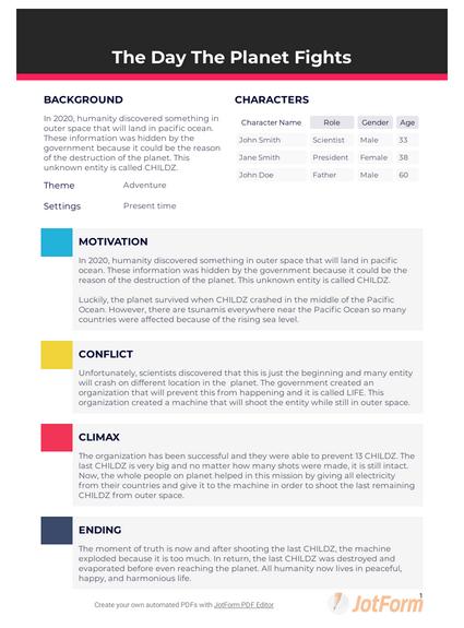 short story outline template  pdf templates  jotform
