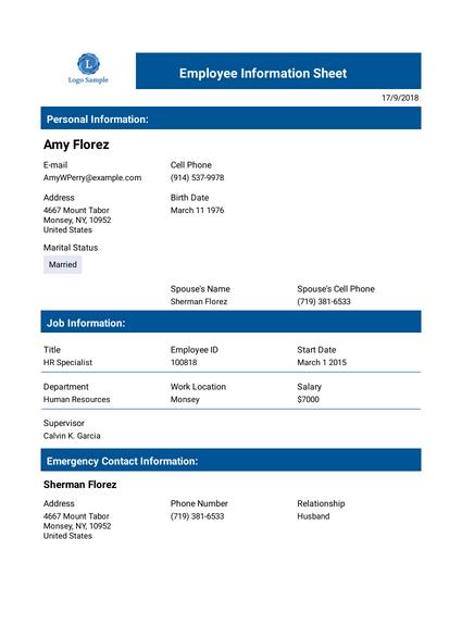 Professional Employee Record Template Pdf Templates Jotform