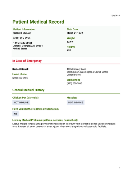 Patient Medical Record Template Pdf Templates Jotform