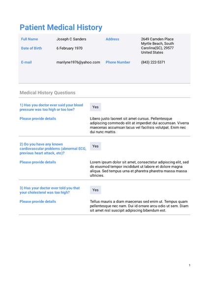 Personal Medical History Template Pdf Templates Jotform