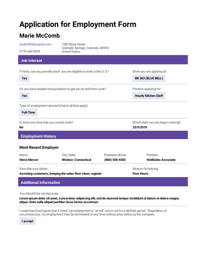 Application For Employment Template Pdf Templates Jotform
