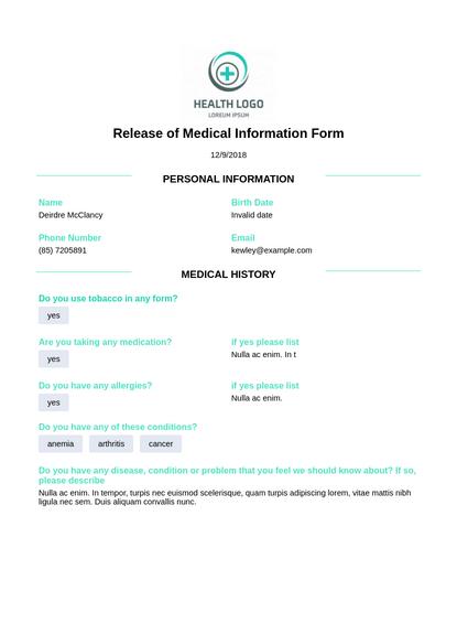 Release of Medical Information
