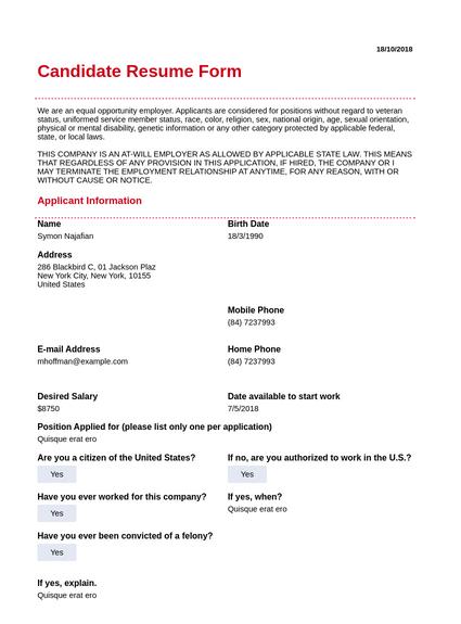 Candidate Resume Template Pdf Templates Jotform