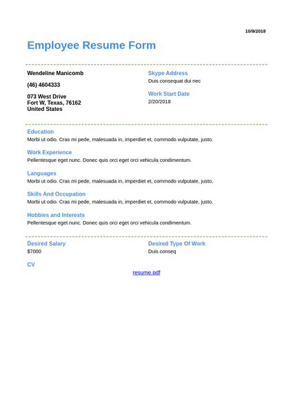 Employee Resume Template Pdf Templates Jotform