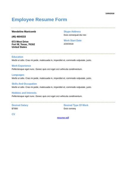 Employment Application Templates Pdf Templates Jotform