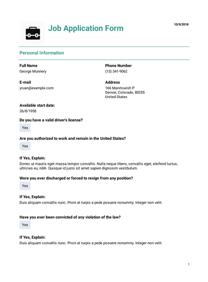 Basic Employment Resume Template Pdf Templates Jotform