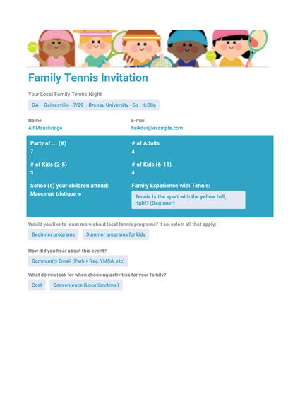 Family Tennis Invitation Template