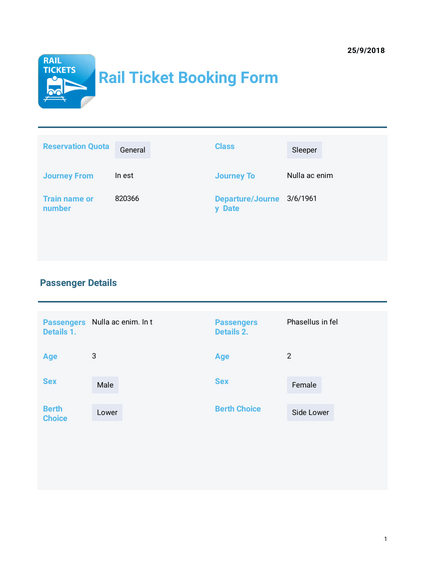 Rail Ticket Booking Template