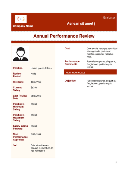 Employee Performance Evaluation Template