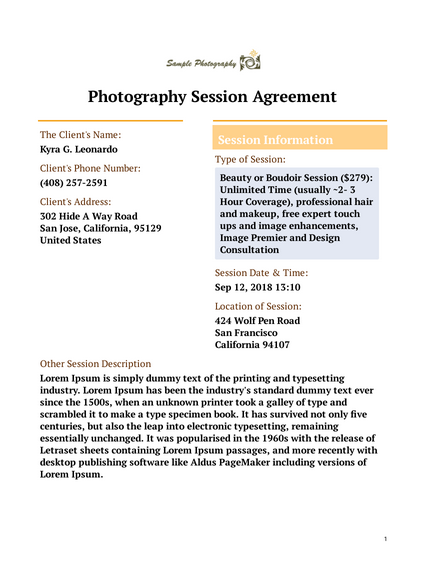 Photography Session Agreement Template Pdf Templates Jotform