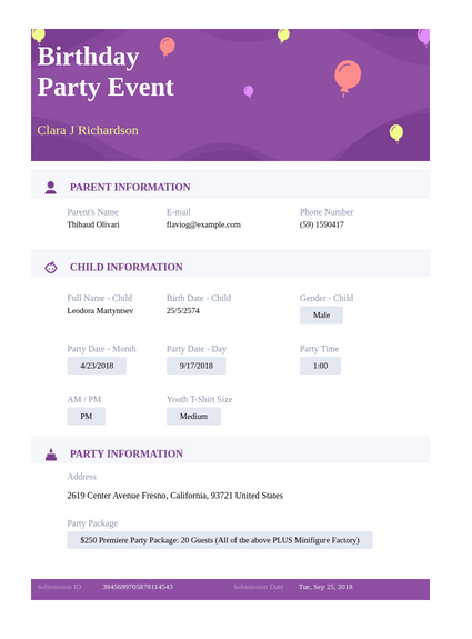 Birthday Party Event Template Pdf Templates Jotform