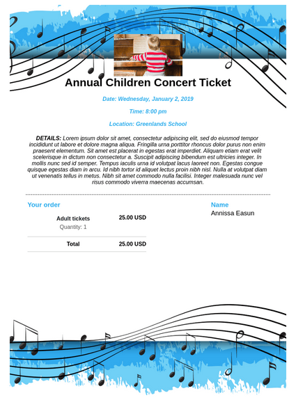 Children's Concert Ticket