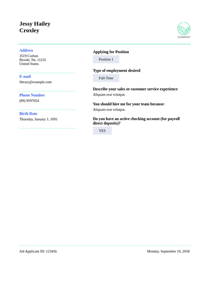 Applicant Resume Template Pdf Templates Jotform