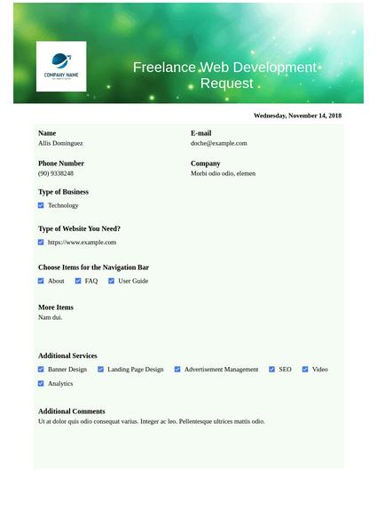 Freelance Web Development Request Pdf Templates Jotform